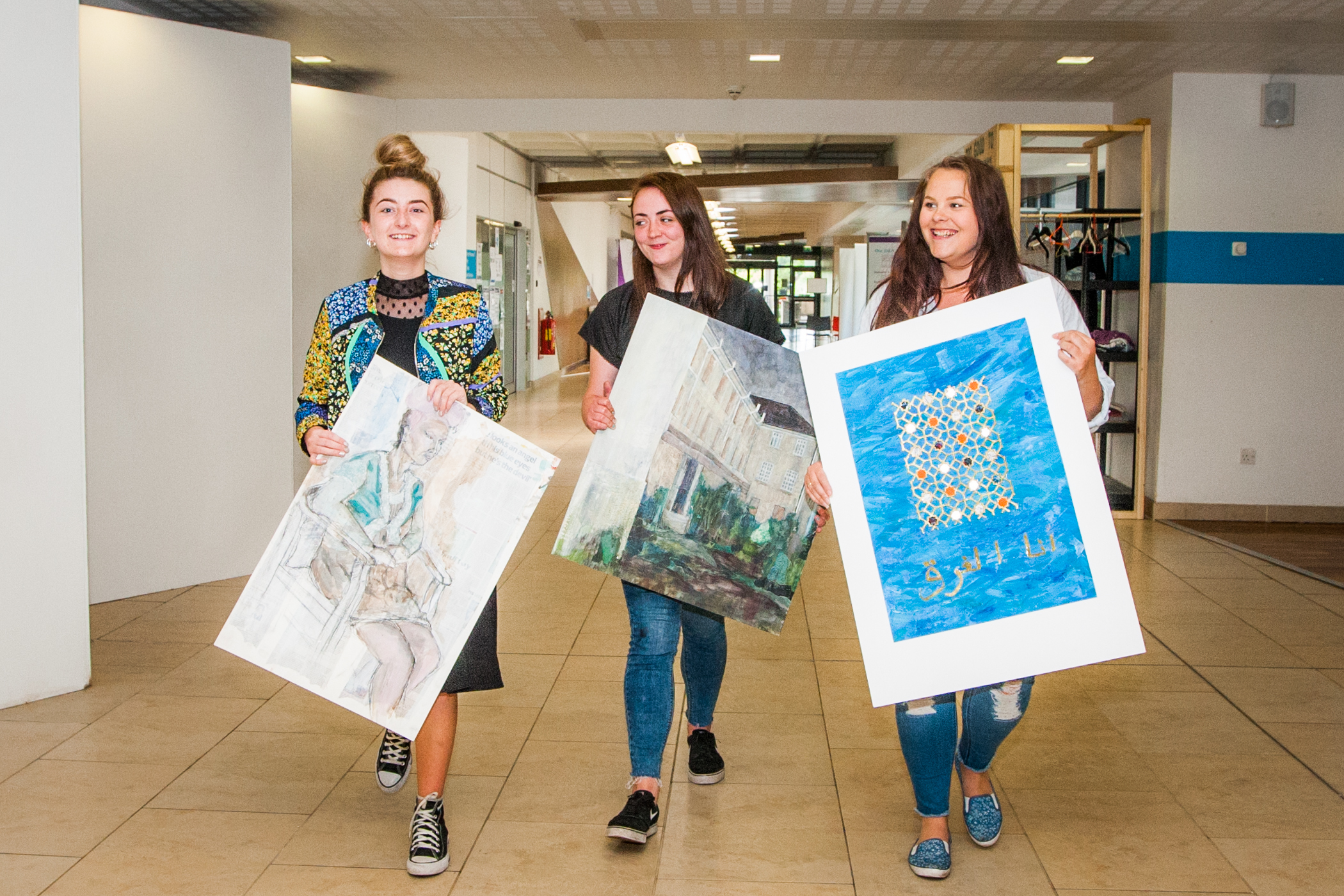 HND Contemporary Art Practice students (left to right) Charly Cussick (correct), Ashely Campbell and Catherine Nelson with some of their work.