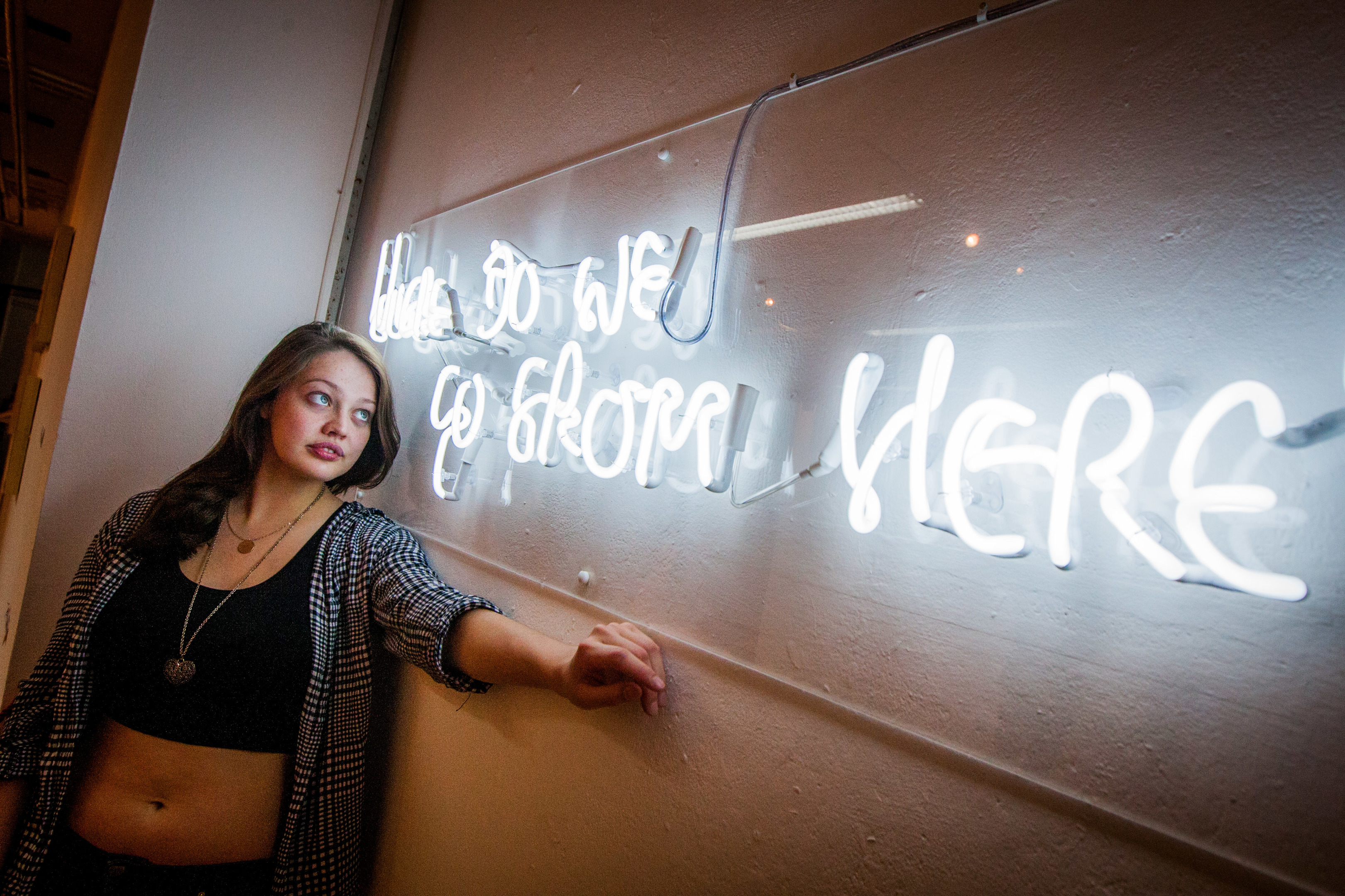 Picture shows Mhairi Anton (aged 23 from Springfield, Fife) and her work 'Where do we go from here?'