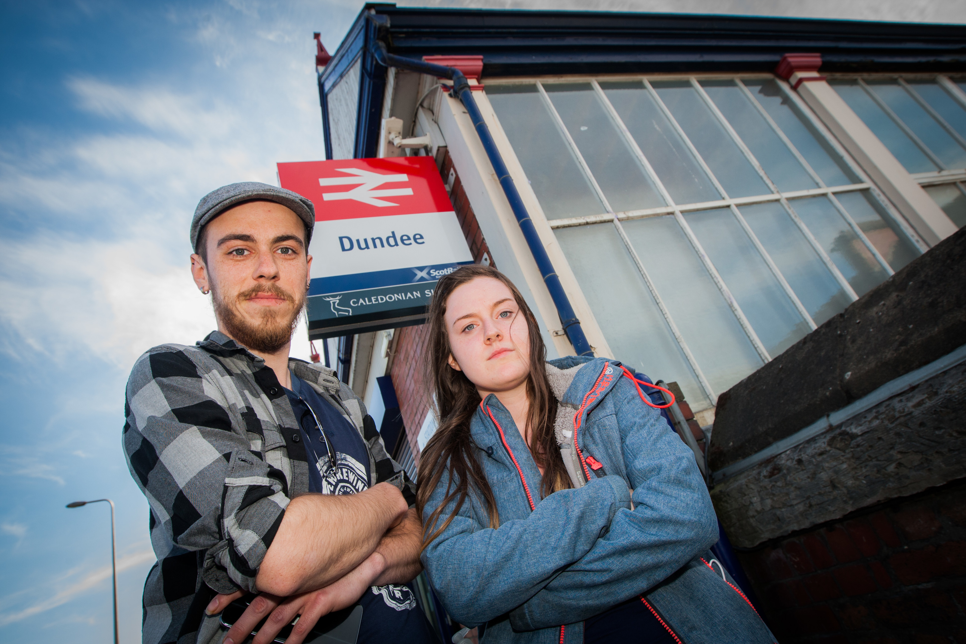 Matt Tessmer and partner Claire Don outside Dundee Train Station.