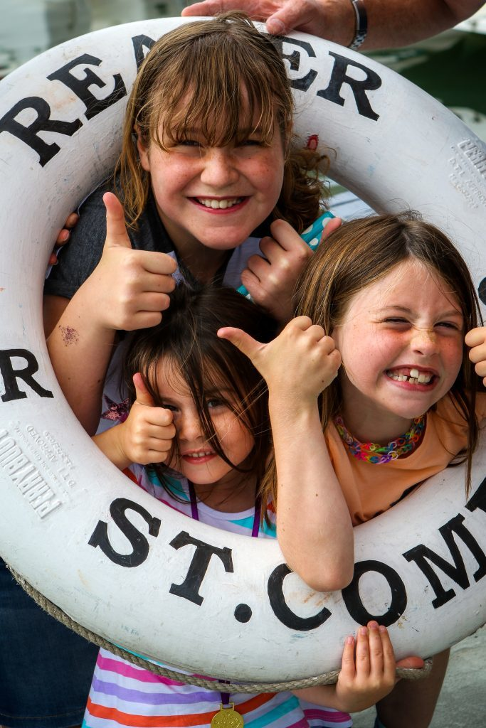 St Andrews Harbour gala: fun aboard Reaper berthed in the harbour; at the back is Zoe Gordon (aged 11) and front left is Madison Gillon (aged 4) and sister Kaitlyn Gillon (aged 7) from St Andrews/Leuchars area.