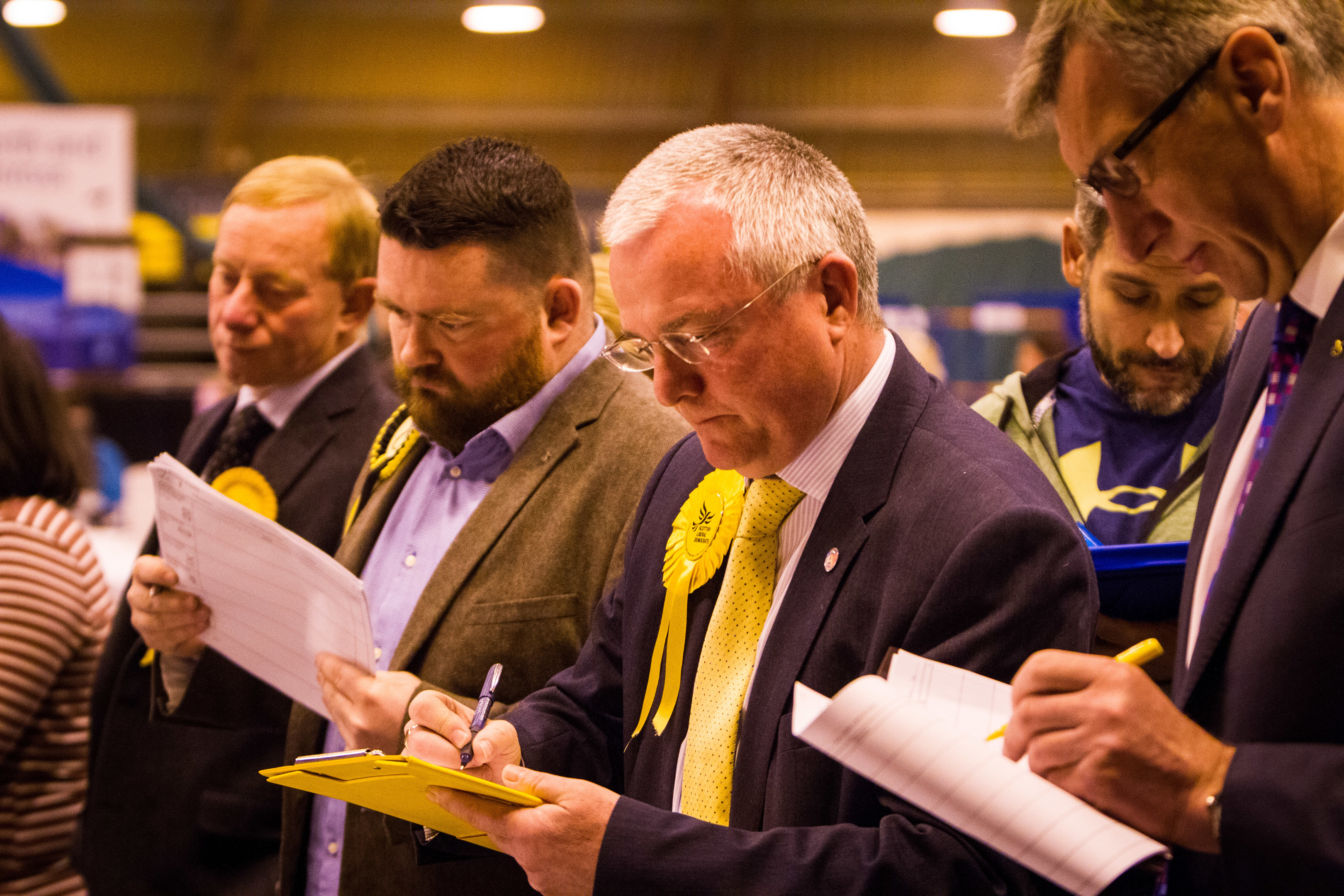 The count in full flow. Peter Barrett and others keeping a close eye on events.
