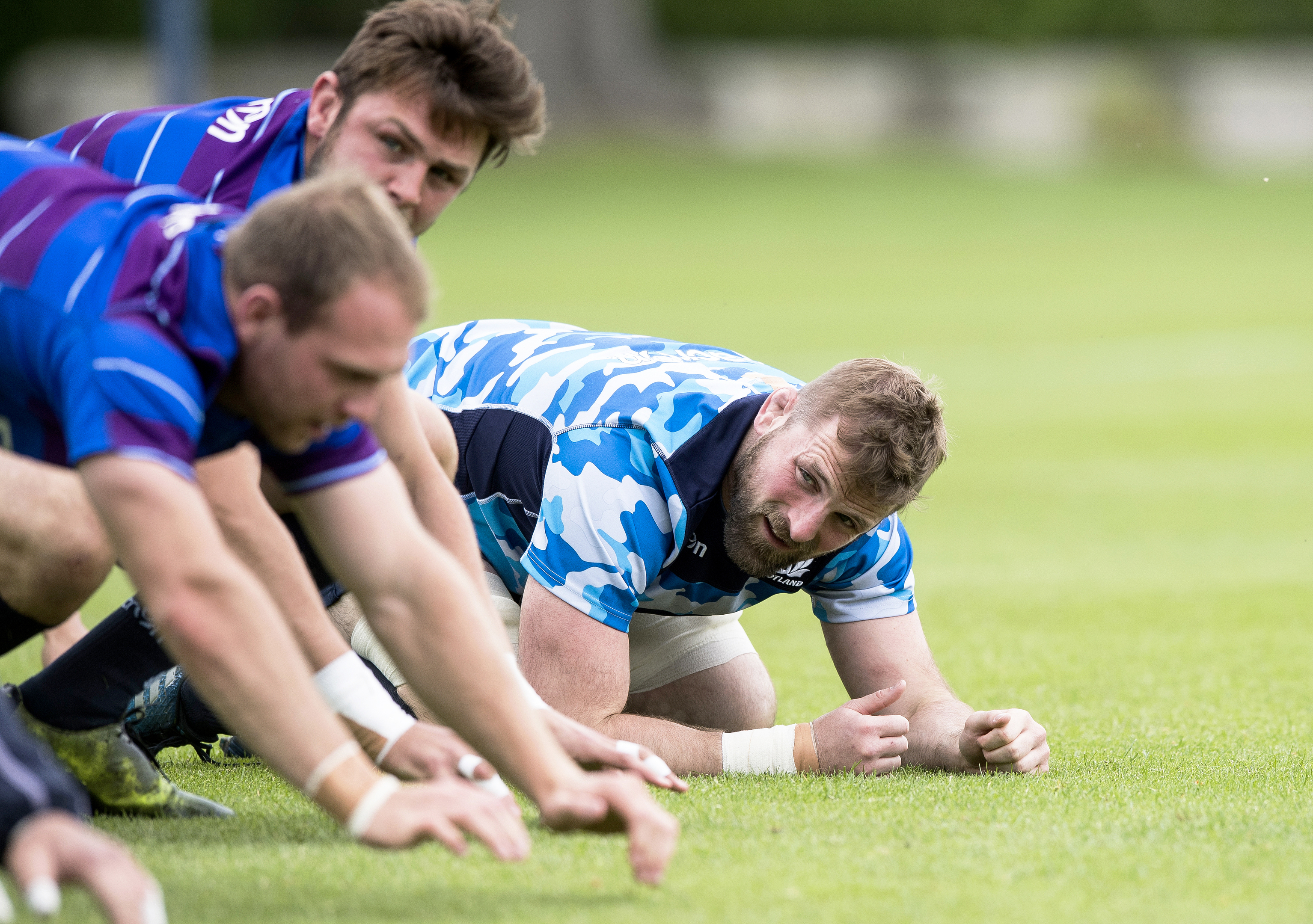 John Barclay gets right down to training with Scotland at St Andrews.