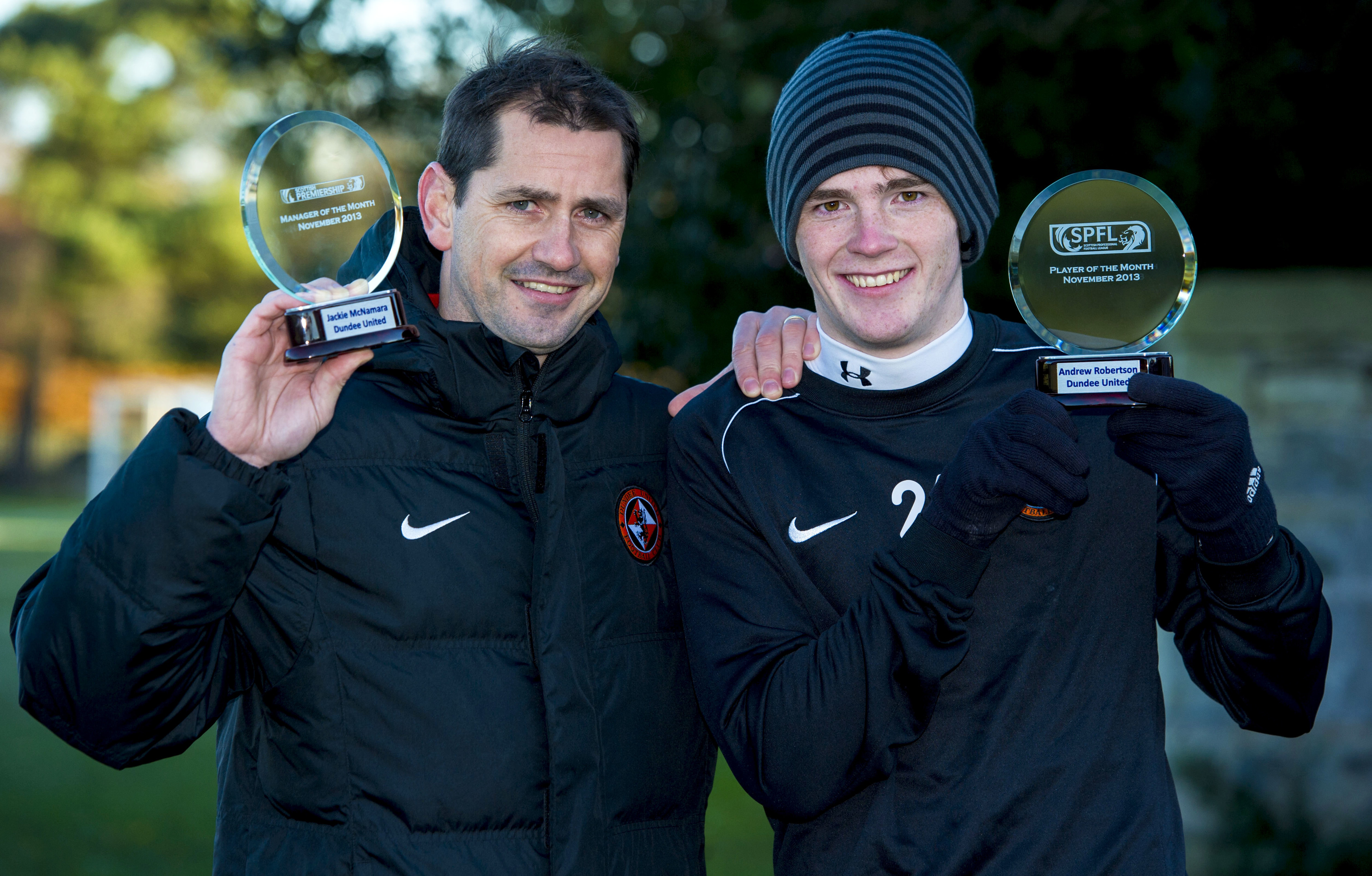 Jackie McNamara (left) with Andrew Robertson after they were awarded the SPFL Scottish Championship Manager and Player of the Month awards respectively in December 2013 while at Dundee United. Robertson is a rare example of a Scottish player who has made a success of life in England.