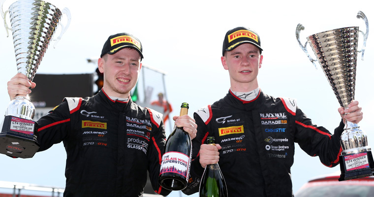 Ciaran Haggerty (left) and Sandy Mitchell savour Snetterton victory