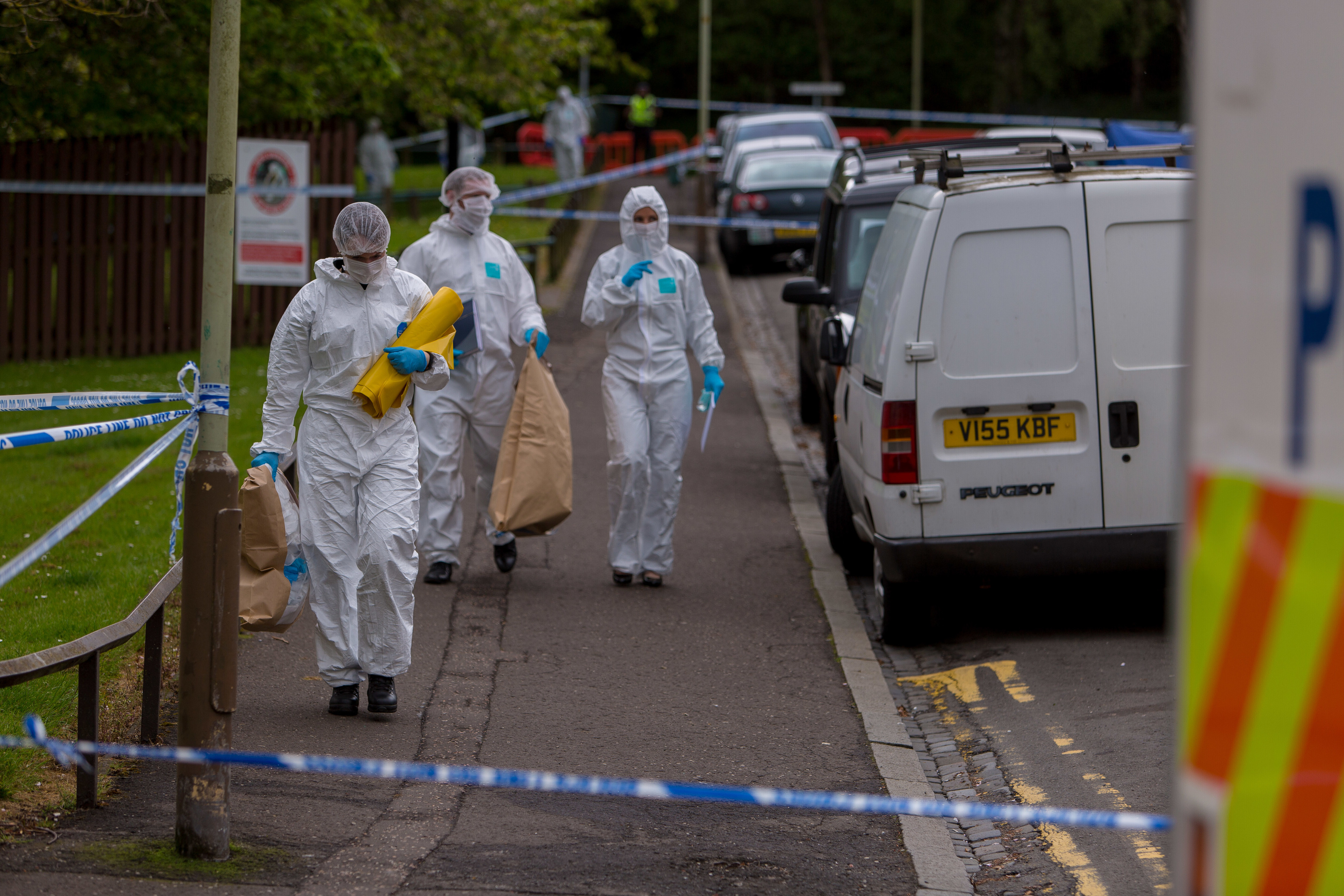 Forensic officers in Lawton Road.