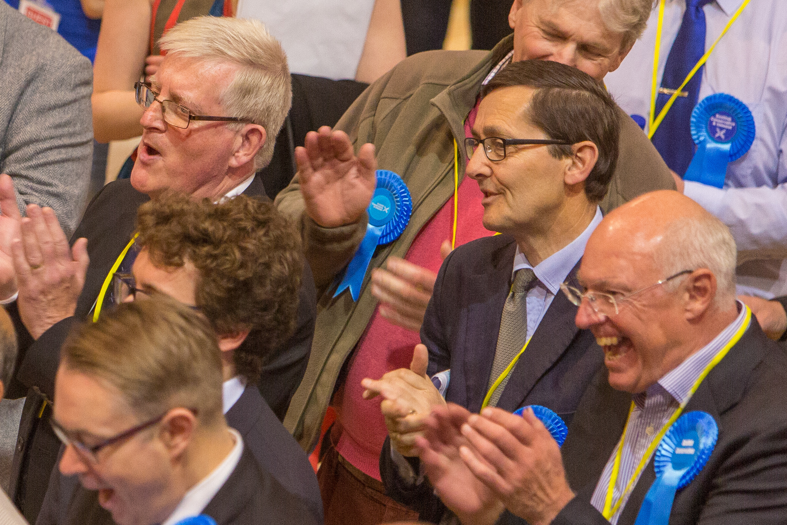 Happy faces among Conservative figures at the Fife Count.