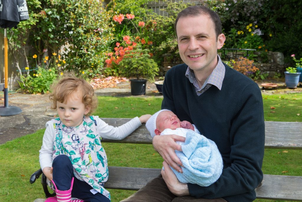 Stephen Gethins with new baby Patrick and two-year-old daughter Mairi.