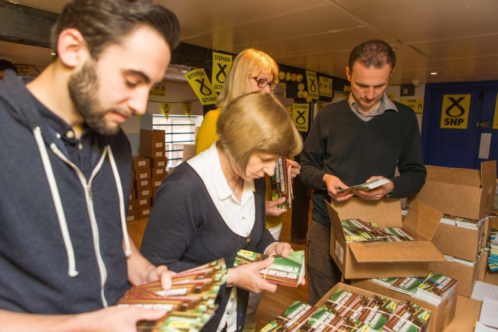 Volunteers get to work in the SNP's campaign rooms.