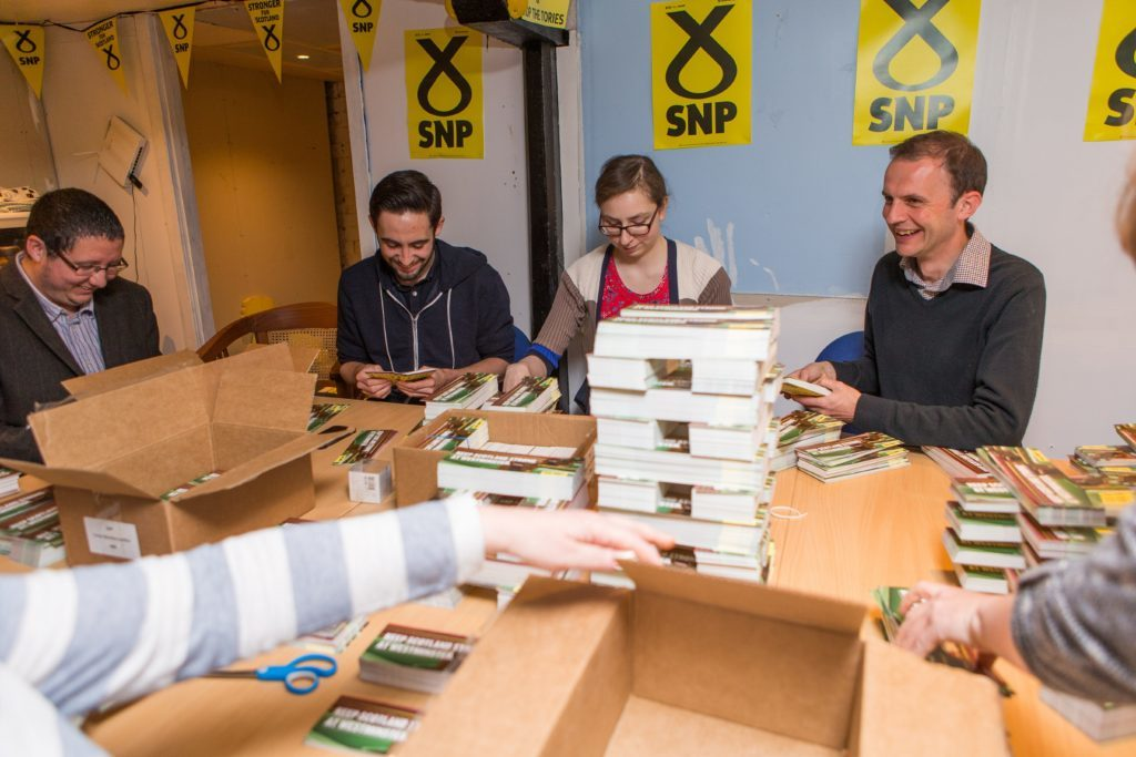 Stephen shares a laugh and a joke with SNP activists.