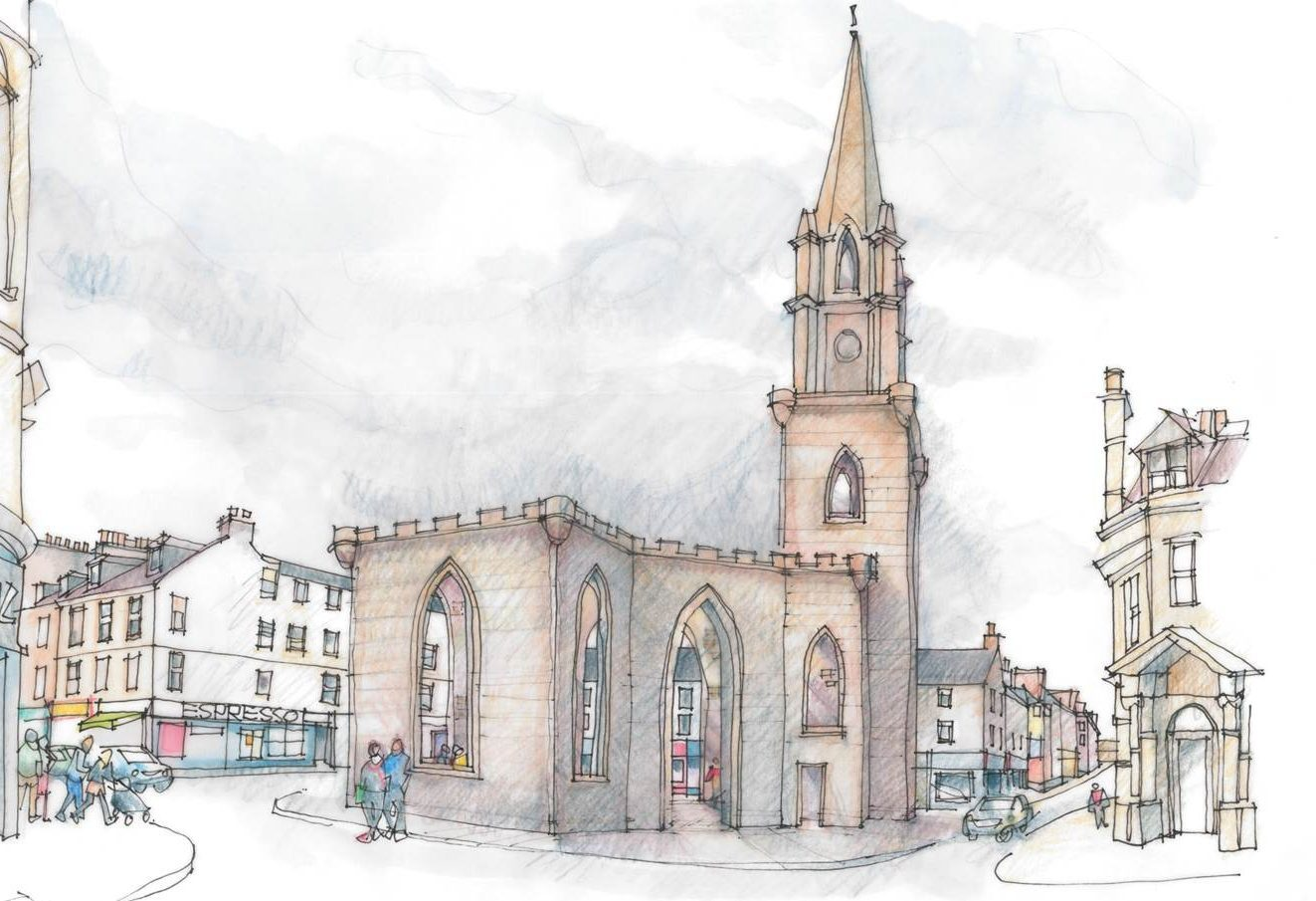 Graphic of the proposed outdoor space at St Pauls Church, Perth.