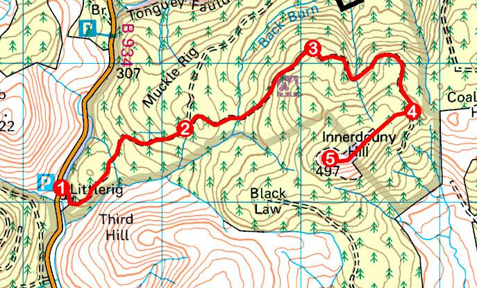 Take a Hike 166 - May 27, 2017 - Innerdouny Hill, Ochil Hills, Perth & Kinross OS map extract