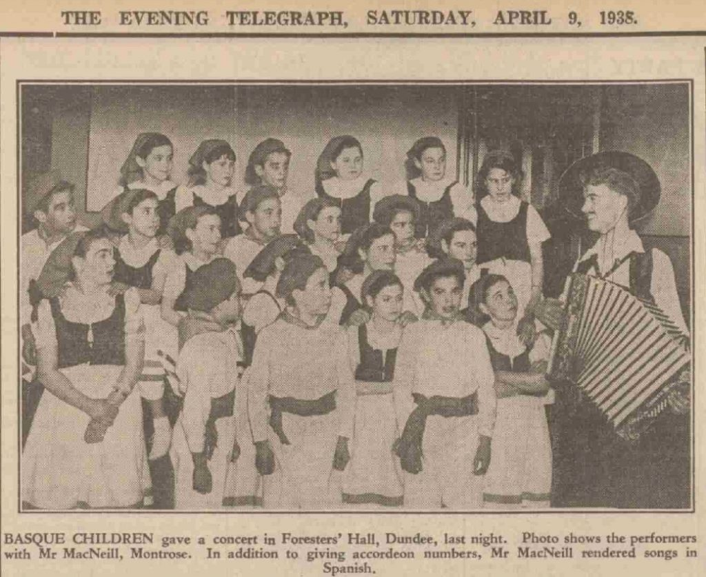 The Basque children performing in a local concert