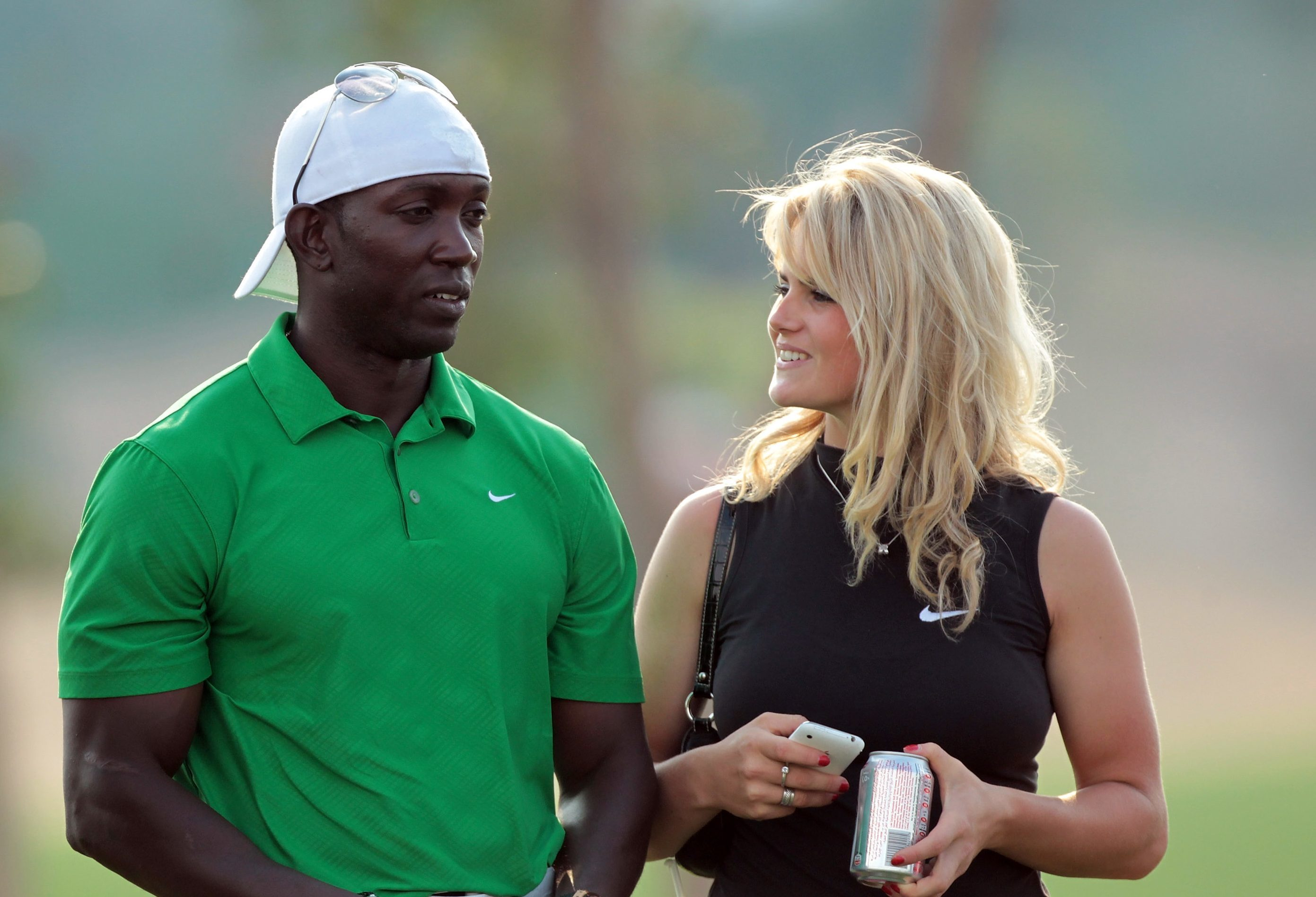 Carly Booth with Dwight Yorke.