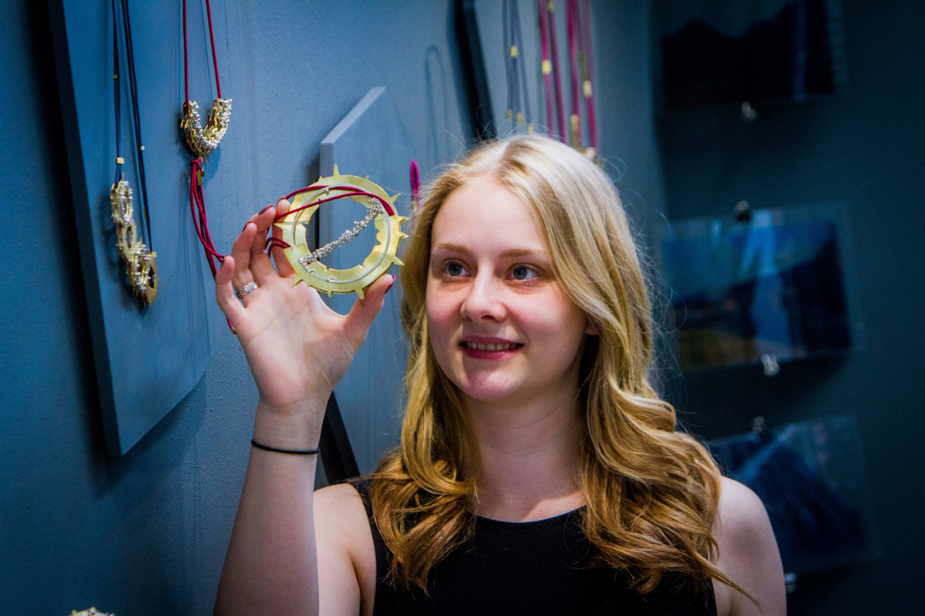 Aimee Cargill, 21, with her jewellery work.