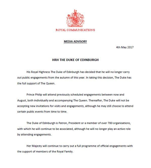 The full Royal Family announcement on Prince Philip's decision to stand aside.