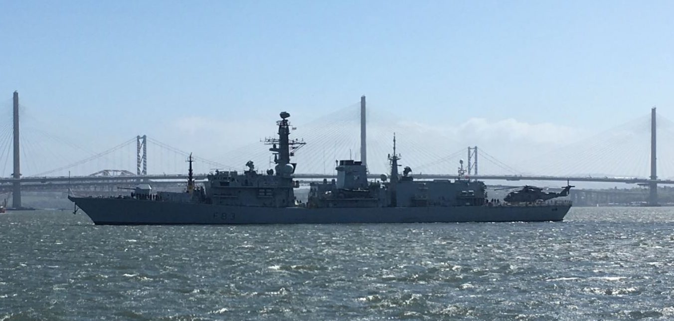 The HMS St Albans arrives in the Firth of Forth.