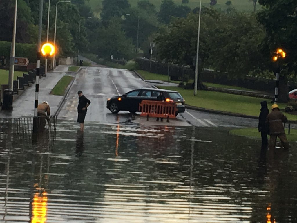 Ceres Road in Cupar was closed until the localised flooding could be cleared