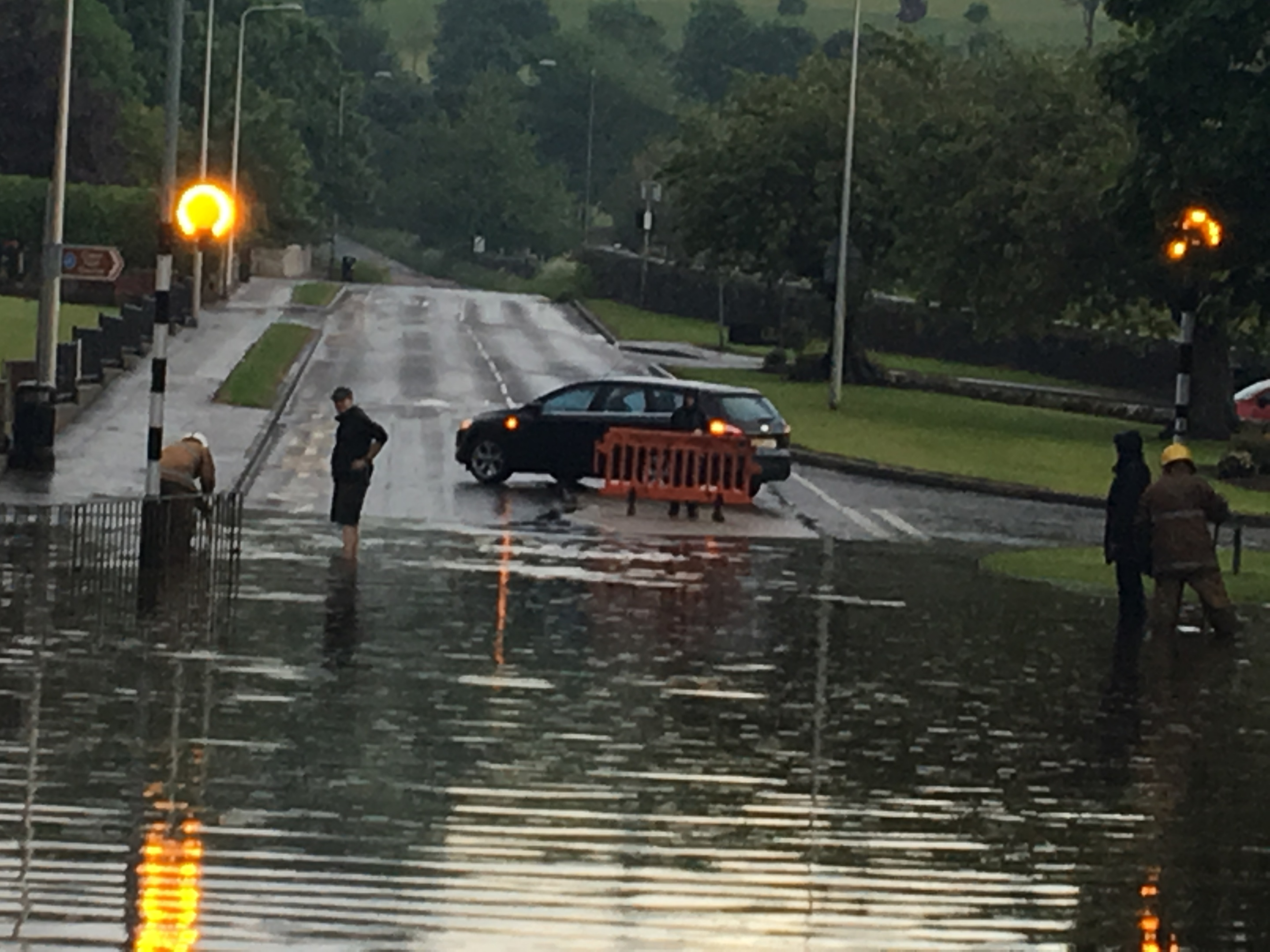 Ceres Road in Cupar was closed until the localised flooding could be cleared. Picture: Michael Alexander.