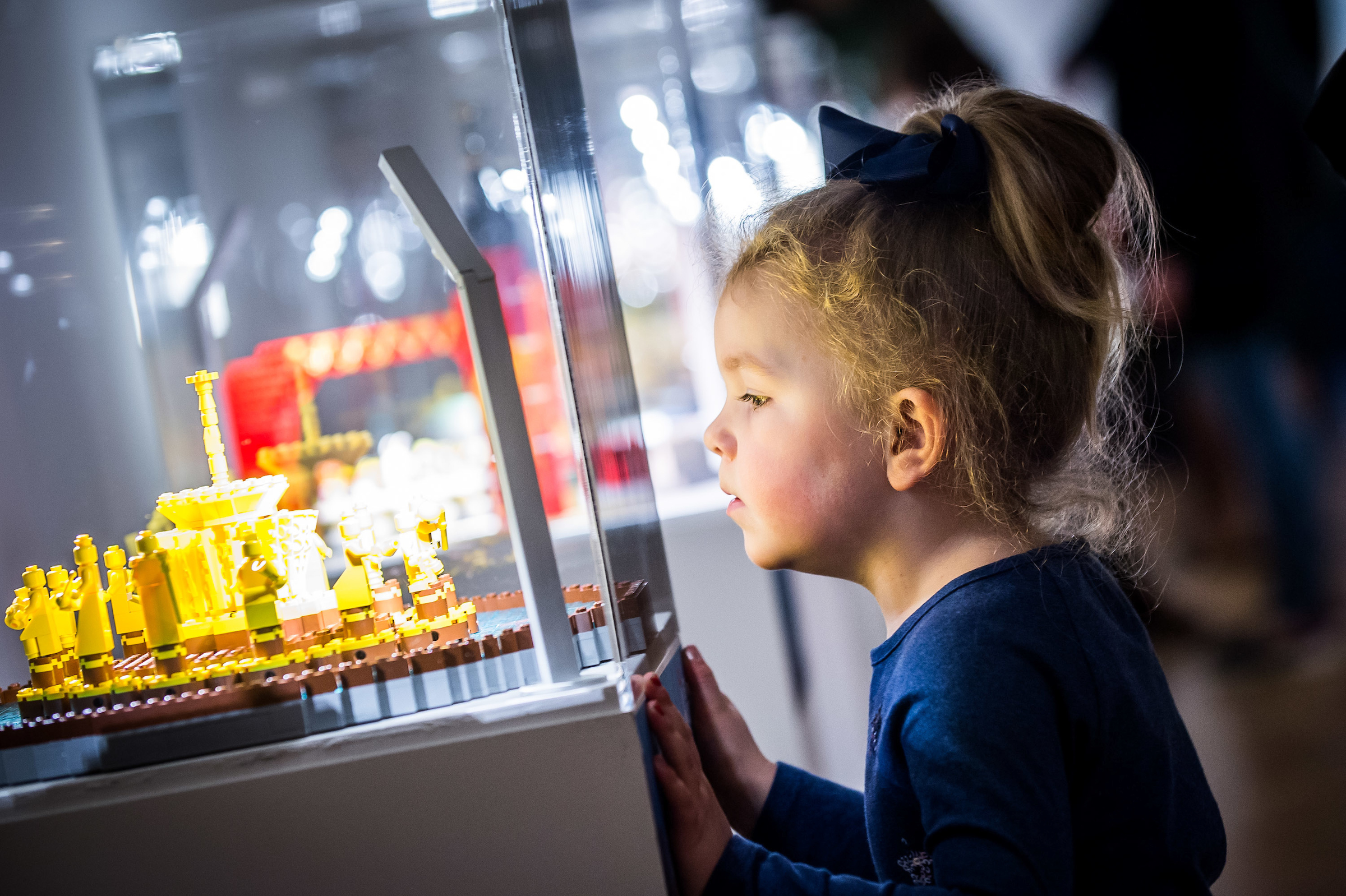 Lyla Pedgrift, 3, from Kinfauns enjoys the Brick City exhibition at Perth Museum and Art Gallery.