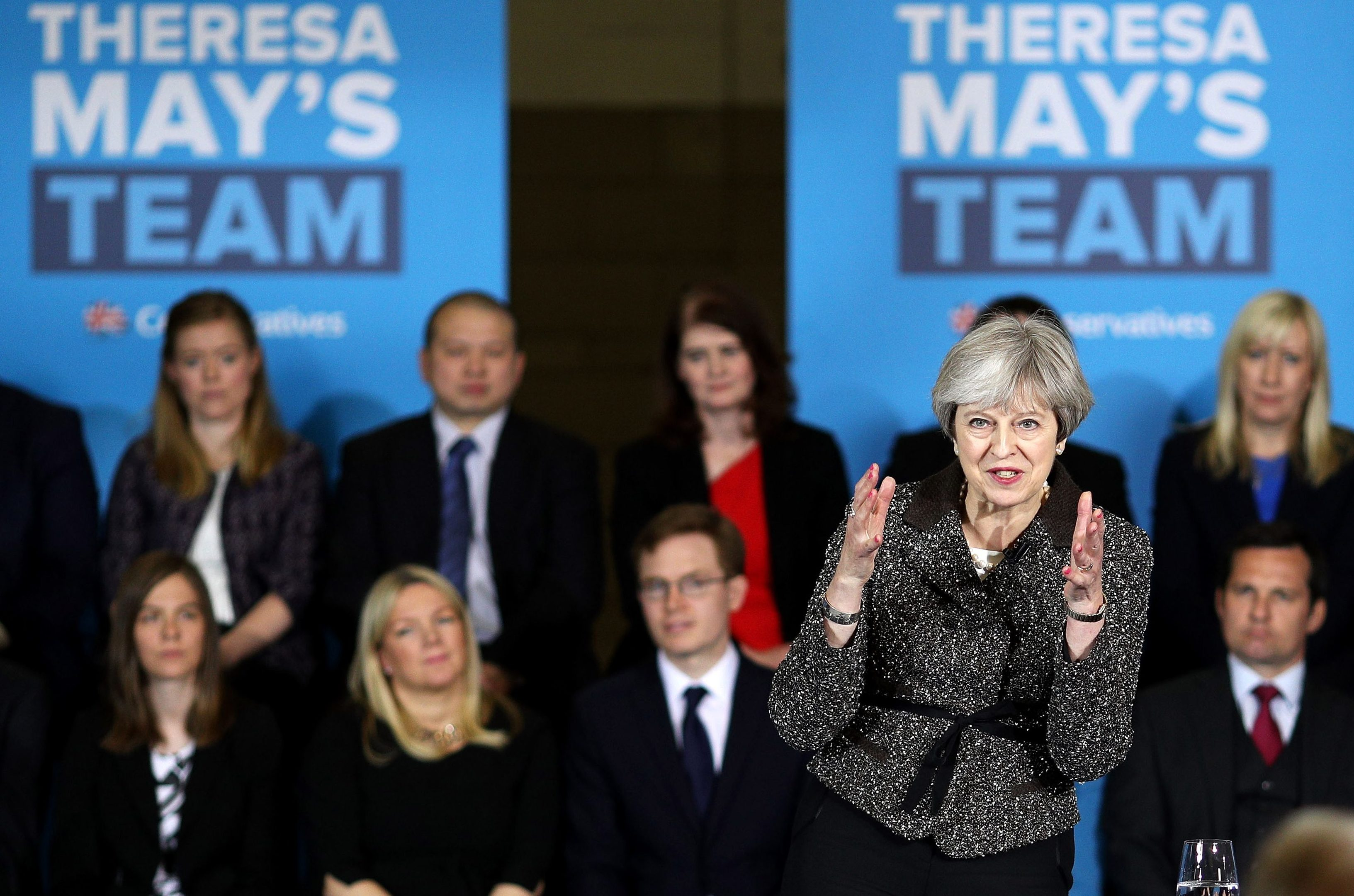 Prime Minister, Theresa May delivers a speech to activists, journalists and business leaders at York Barbican while campaigning in Yorkshire on May 9. Now FSB is calling for cheaper business costs.