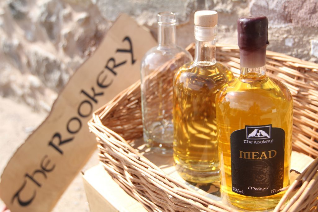 Bottles of mead ready for sale.