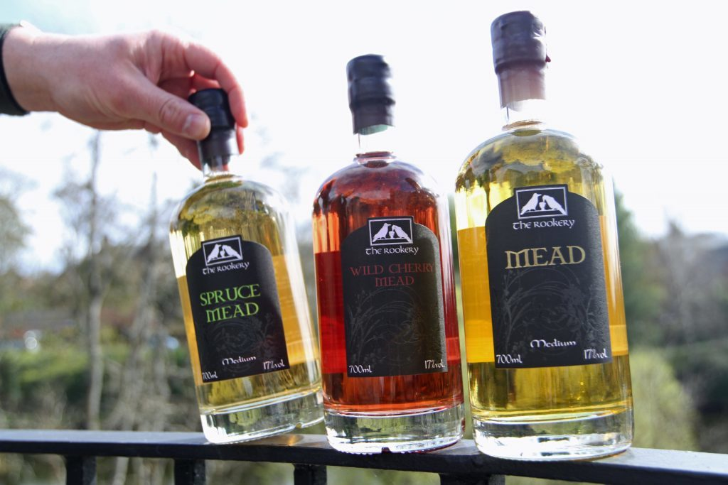 Bottles of different flavoured mead - irresistible!