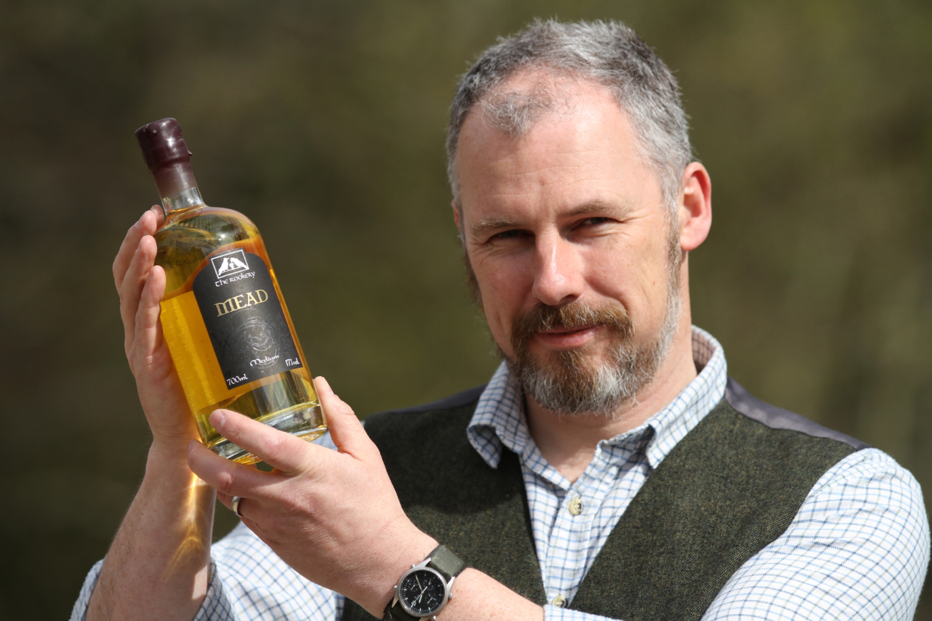 Christopher Mullin with a bottle of his mead, brewed at The Rookery in Blairgowrie.