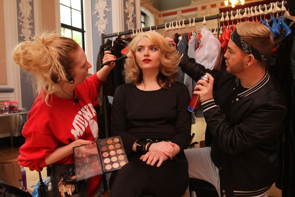 Lead female Tara Lee getting her make up done by Cat McQueen and hair by Johnathan Feeney-Brown.