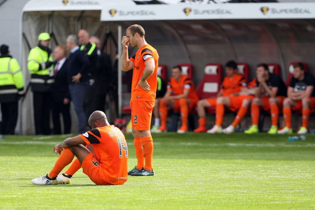 Dundee United players react to Hamilton loss.