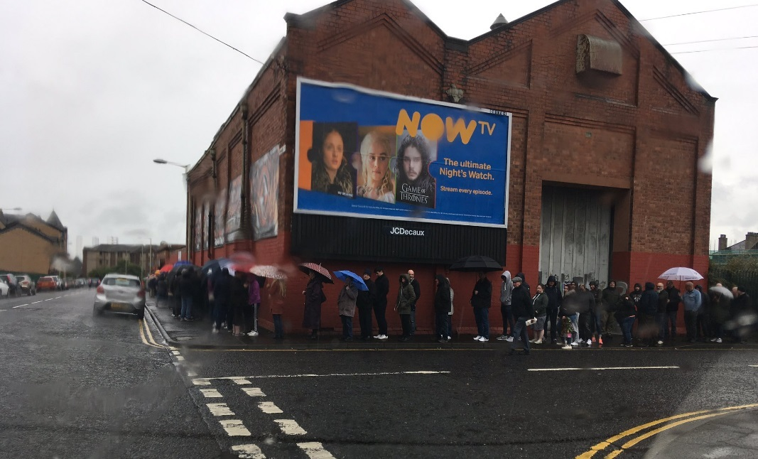 Fans queue up for play-off final tickets.