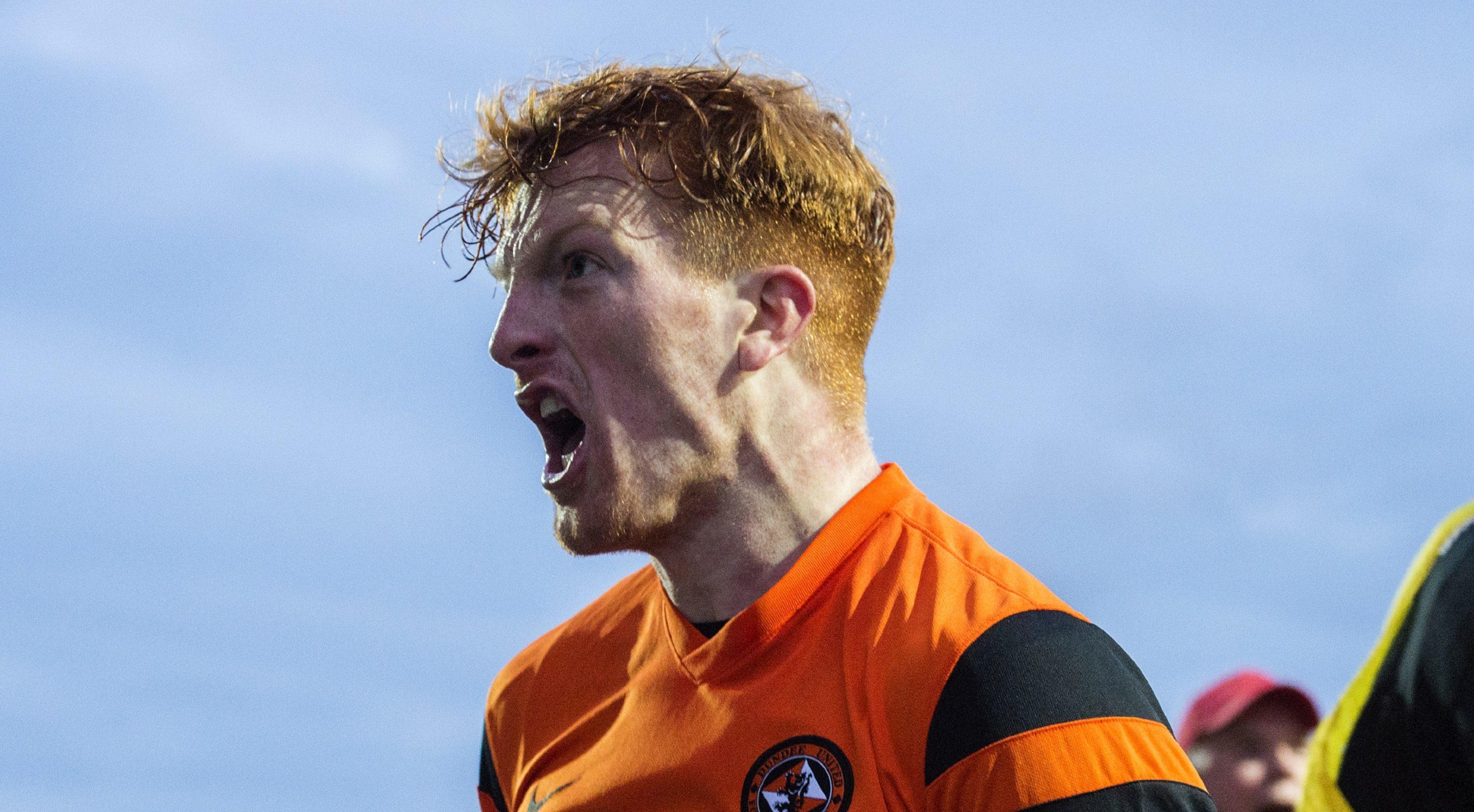 Simon Murray after scoring his goal at Falkirk.