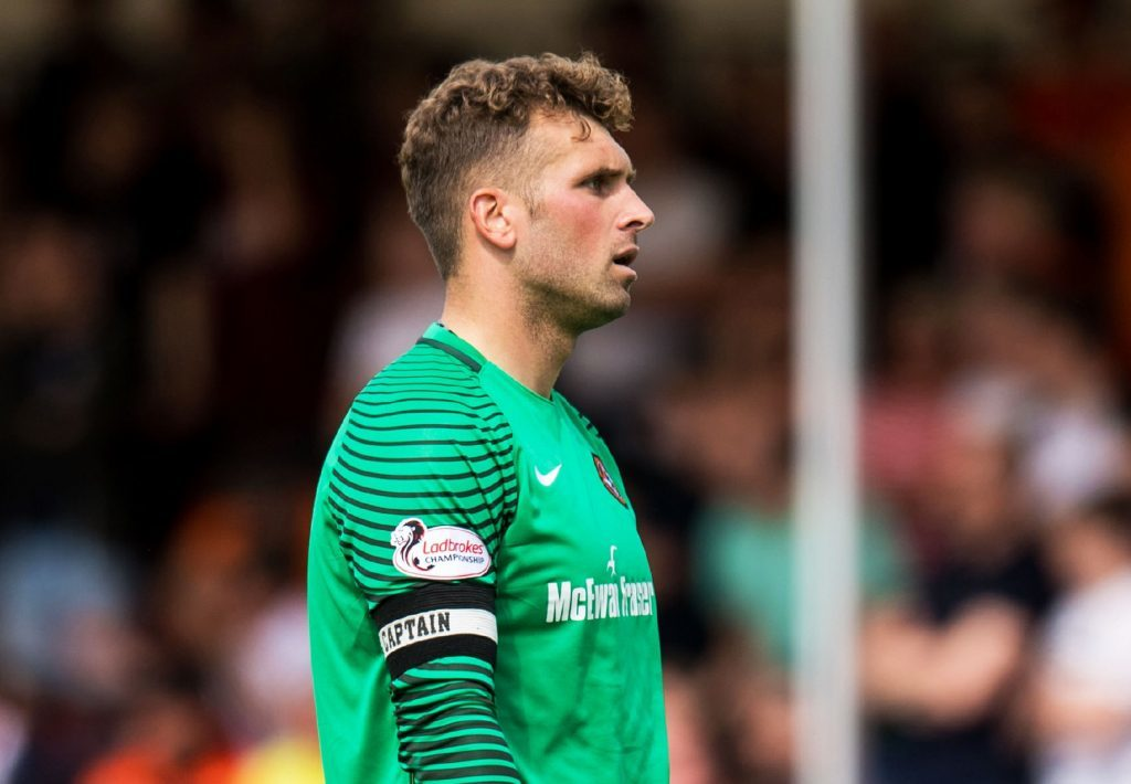 28/05/17 LADBROKES PREMIERSHIP PLAY OFF FINAL 2ND LEG HAMILTON v DUNDEE UNITED THE SUPERSEAL STADIUM - HAMILTON Dundee United goalkeeper Cammy Bell at full-time.