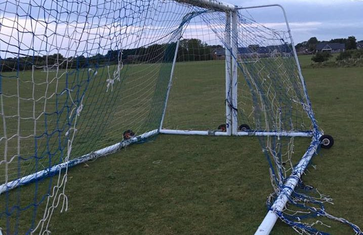 Damage to the goal nets at Kenny Park, Montrose
