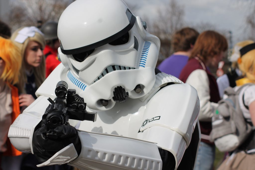 These are the tickets you are looking for. One enthusiastic Star Wars fan dressed as Stormtrooper at April's event.