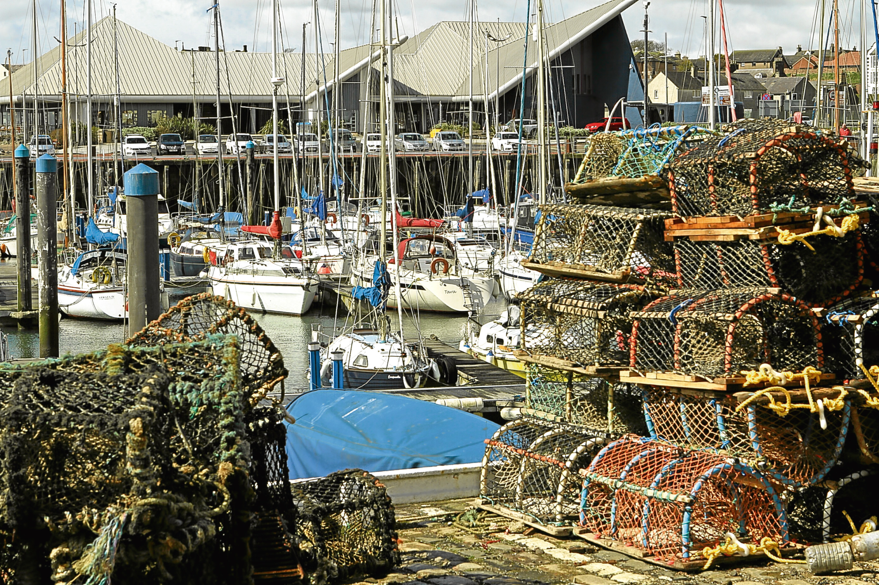 Creels on the quayside at Arbroath.