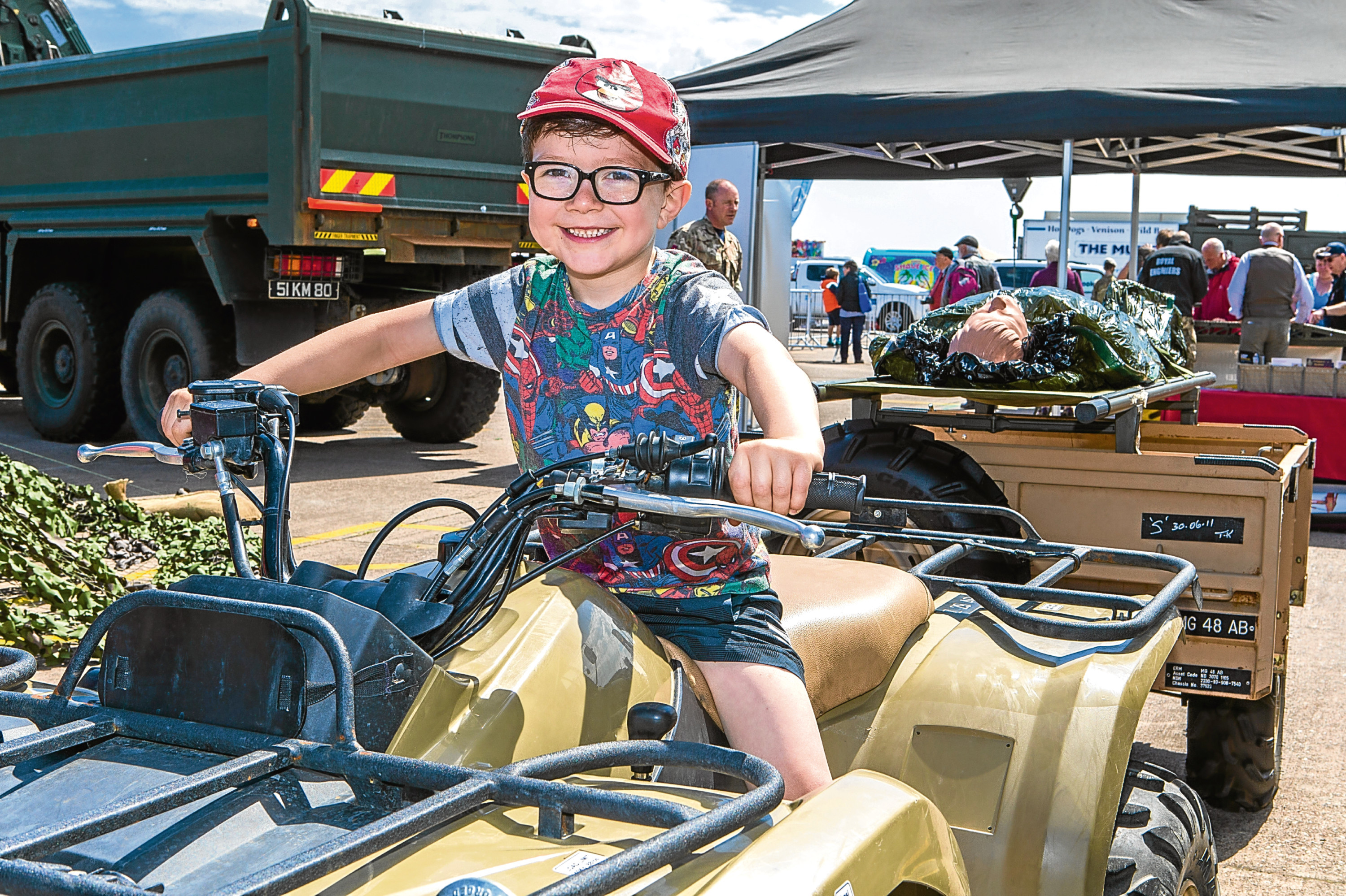 Owen Lovell enjoying the weather at Leuchars Station open day on Saturday.