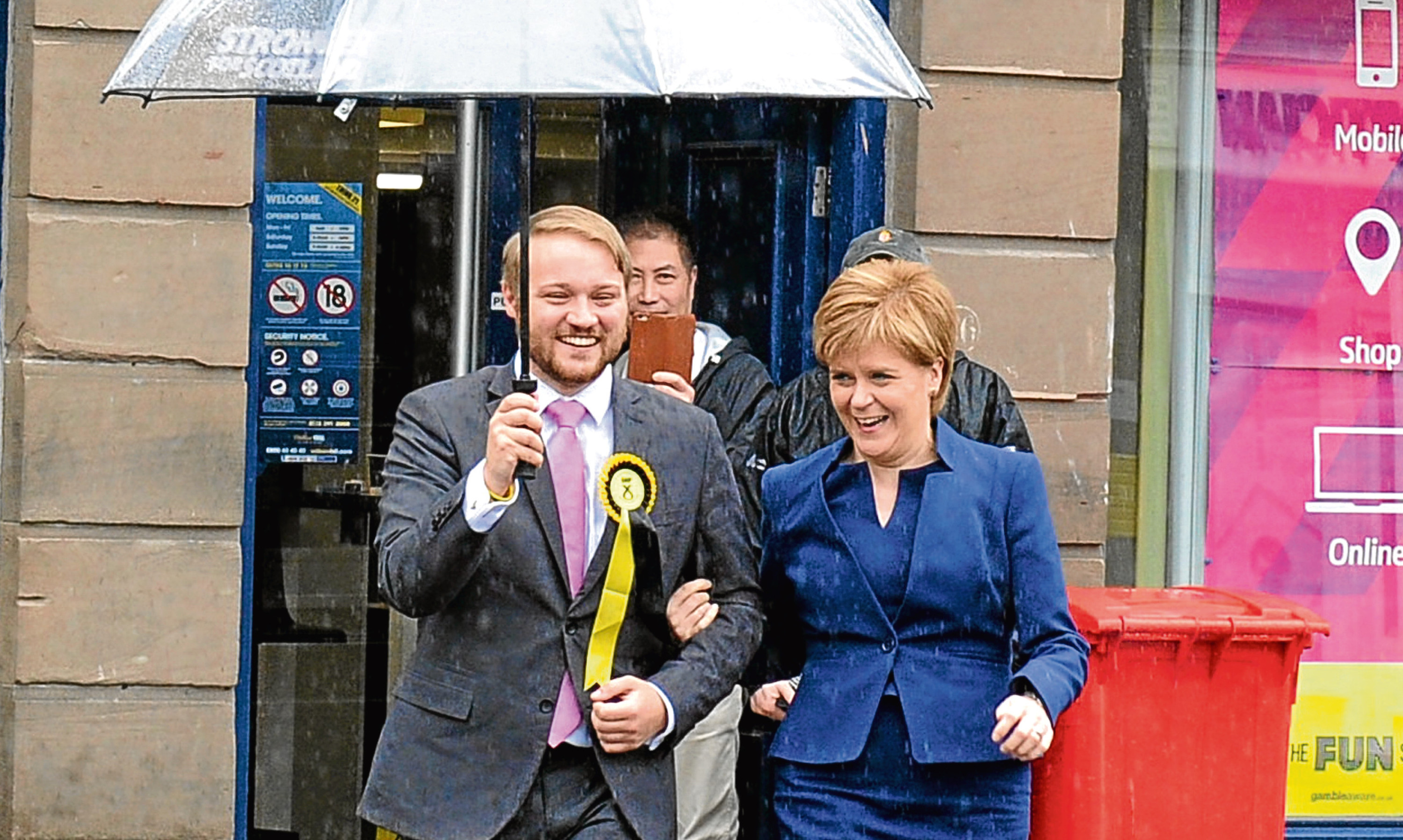 Raining on her parade? Is Nicola Sturgeon, pictured with candidate Stuart Donaldson, panicking at her partys fall in support over her insistence on a second referendum? Jenny thinks so.