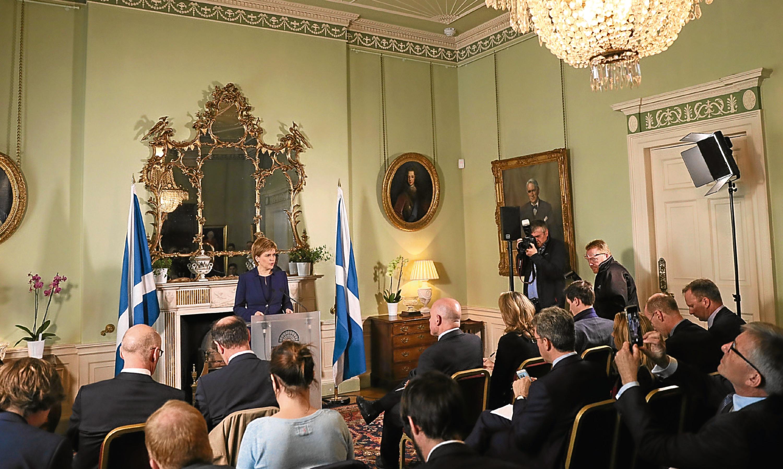 First Minister Nicola Sturgeon speaks at Bute House, Edinburgh.