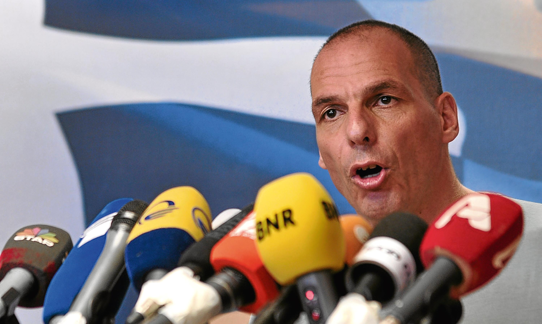 Greece's Finance Minister Yanis Varoufakis speaks after the 2015 referendum.