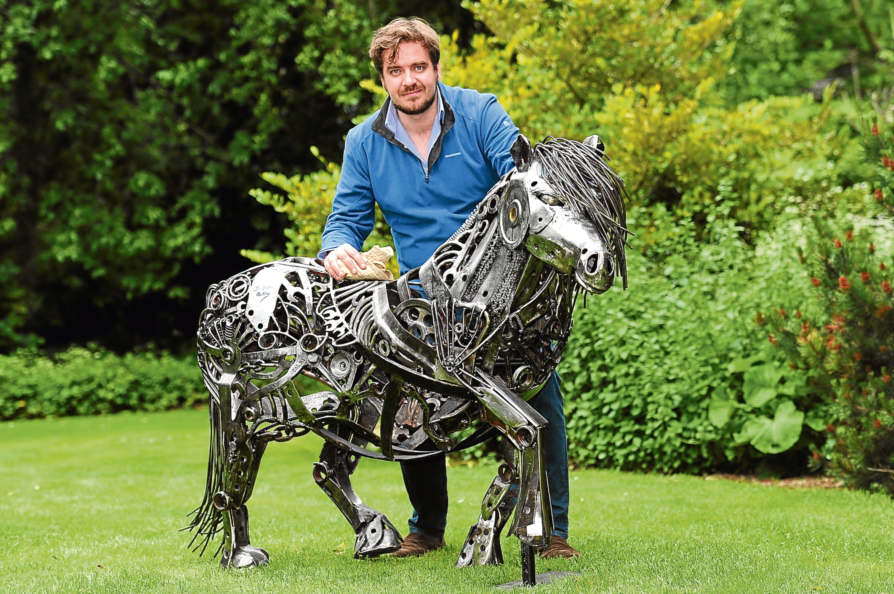 Steven Burke McKay with Magnus the Shetland pony.