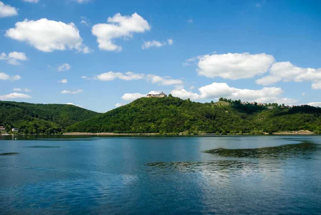 Edersee Lake with Castle Waldeck in the background.