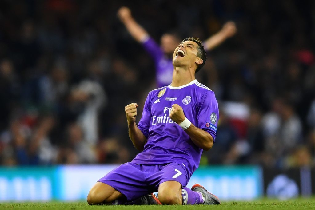 Cristiano Ronaldo of Real Madrid celebrates victory after the UEFA Champions League Final between Juventus and Real Madrid.