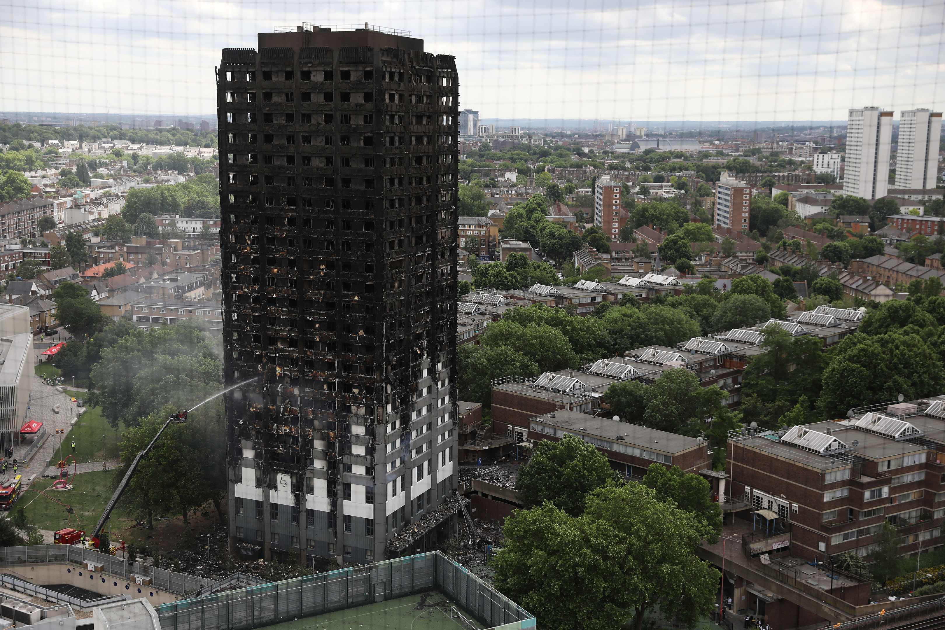 The blackened wreck of Grenfell Tower.