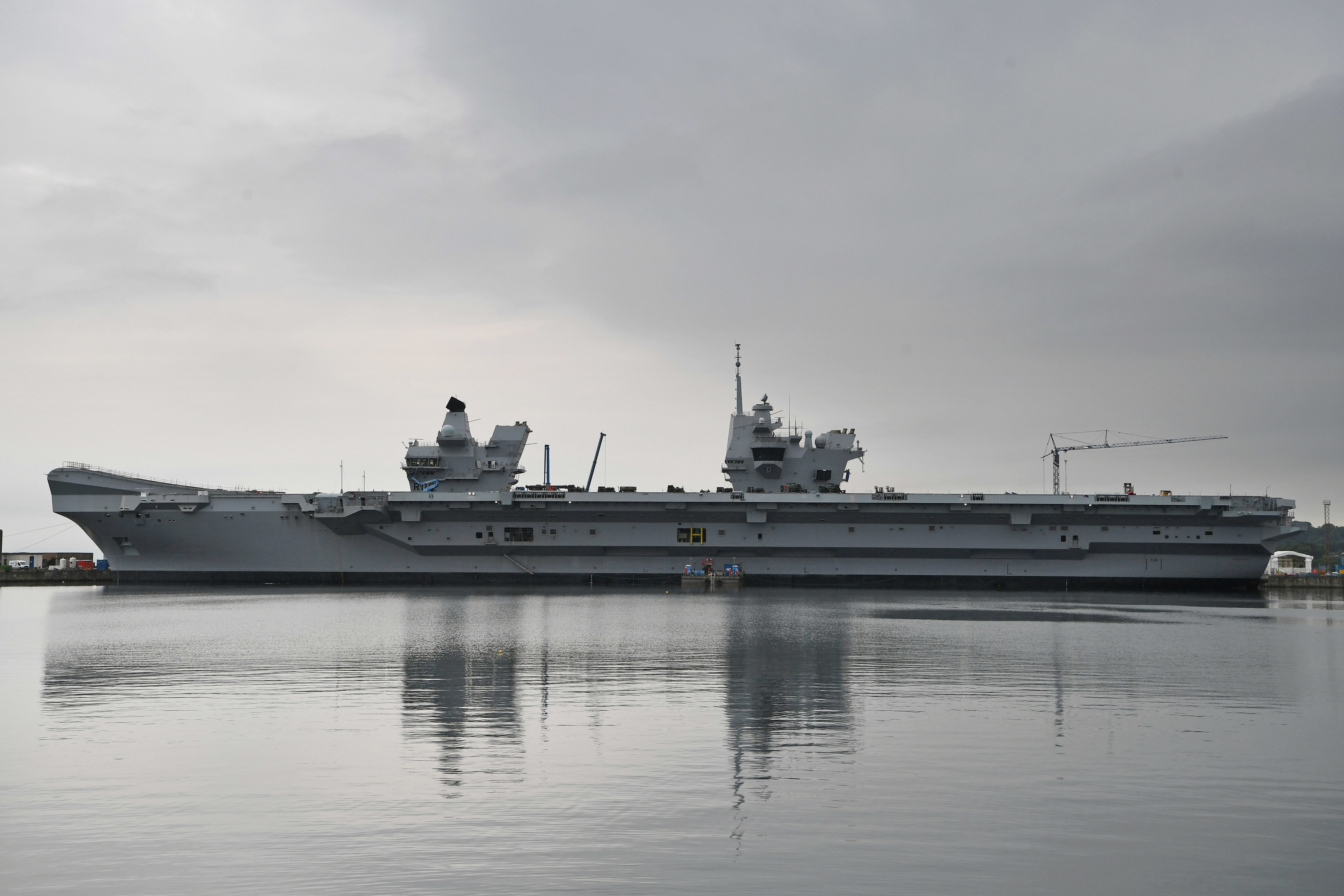 A general view of HMS Queen Elizabeth Aircraft Carrier.
