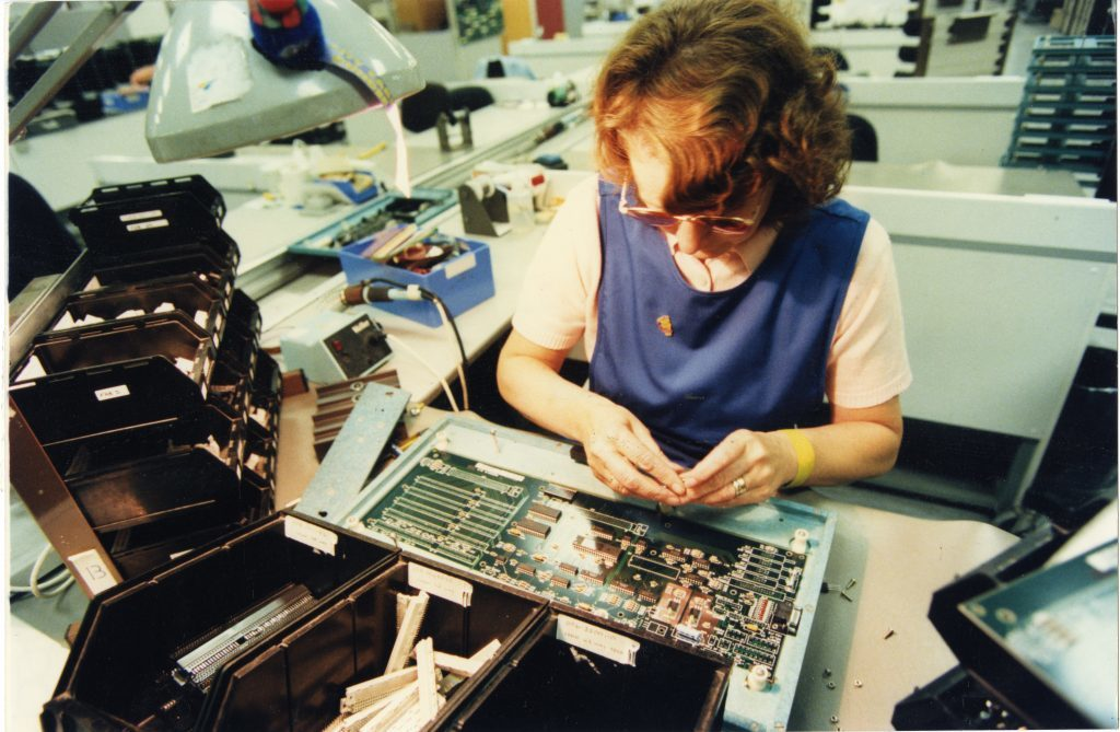 Betty Cumming, circuit board assembly at NCR Dundee in 1996