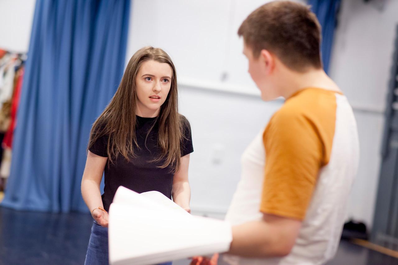Nadine McLaren and Erasmus Mackenna during The Blue Road rehearsal.