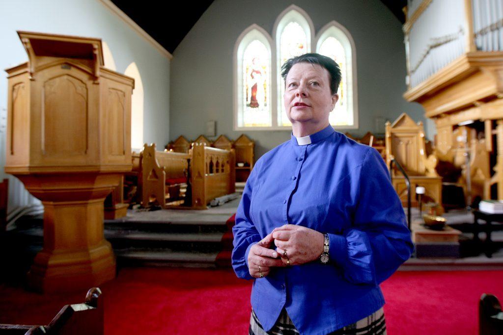 Rev Mairi Perkins in the refurbished Blackford Parish Church.