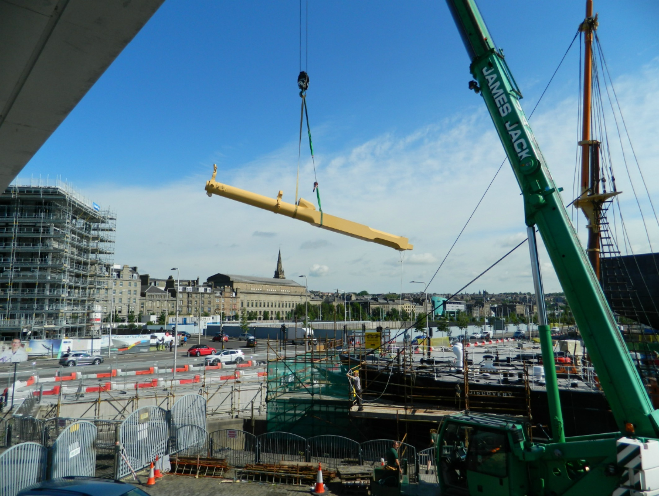The ship's masts were taken down in November for essential conservation work