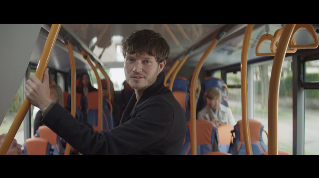 'Jack' played by Max Raskin pictured on the bus at Kingsway during filming