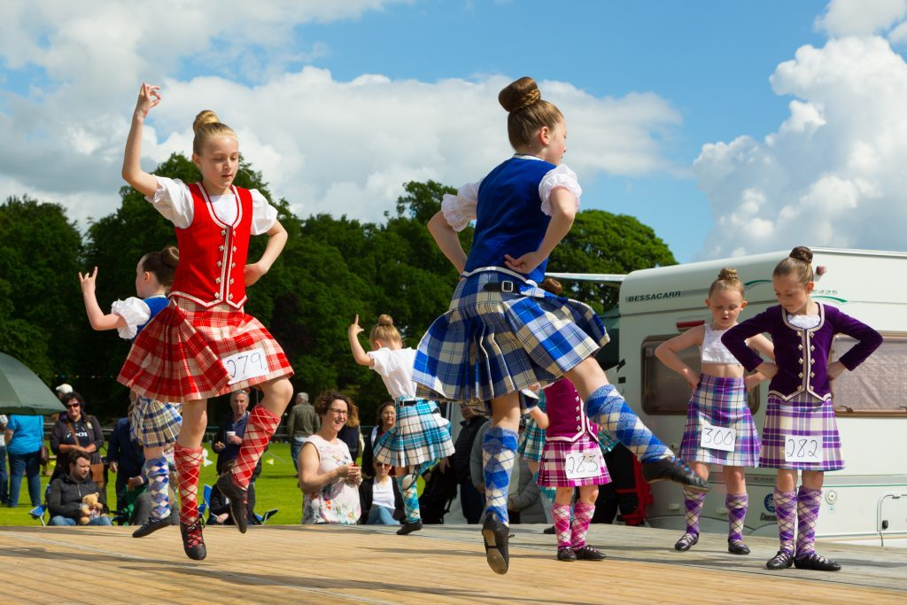 Young Highland dancers at the Markinch Highland Games.